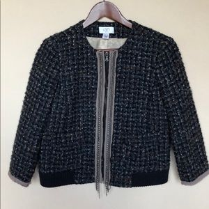 Ann Taylor loft tweed jacket with detail zipper